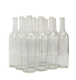 Wine Bottle 750mL Clear Bordeaux Flat Bottom CS/12