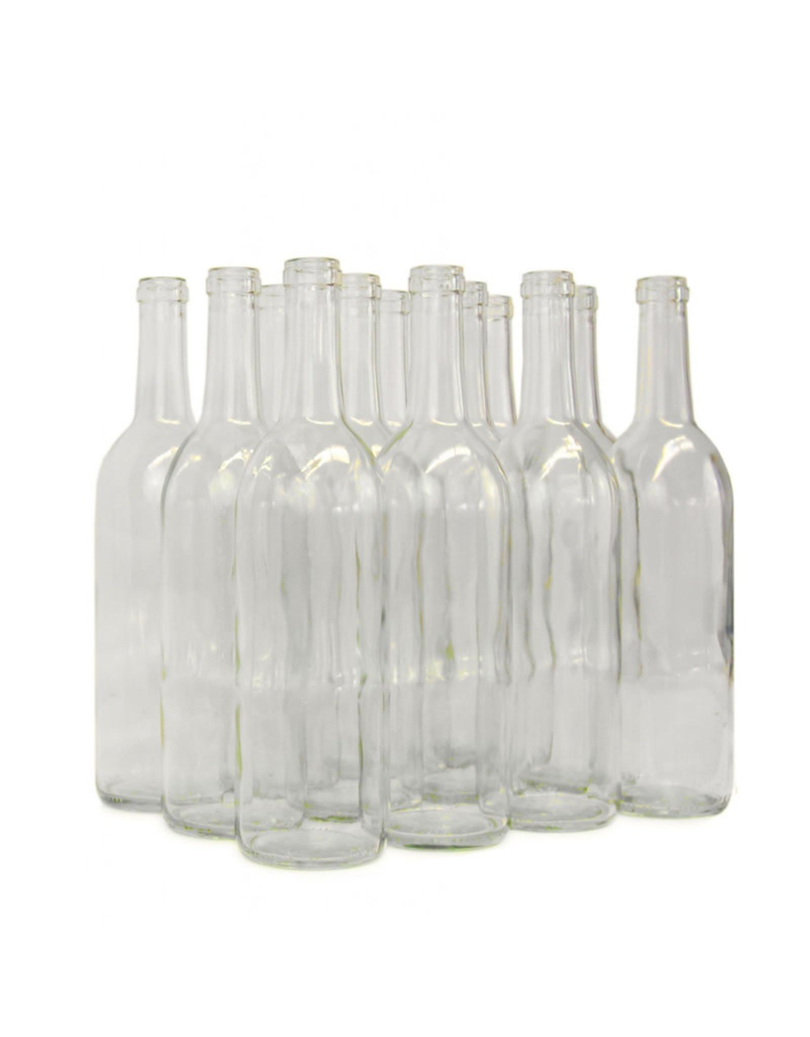 Wine Bottle 750mL Clear Bordeaux Flat Bottom CS/12