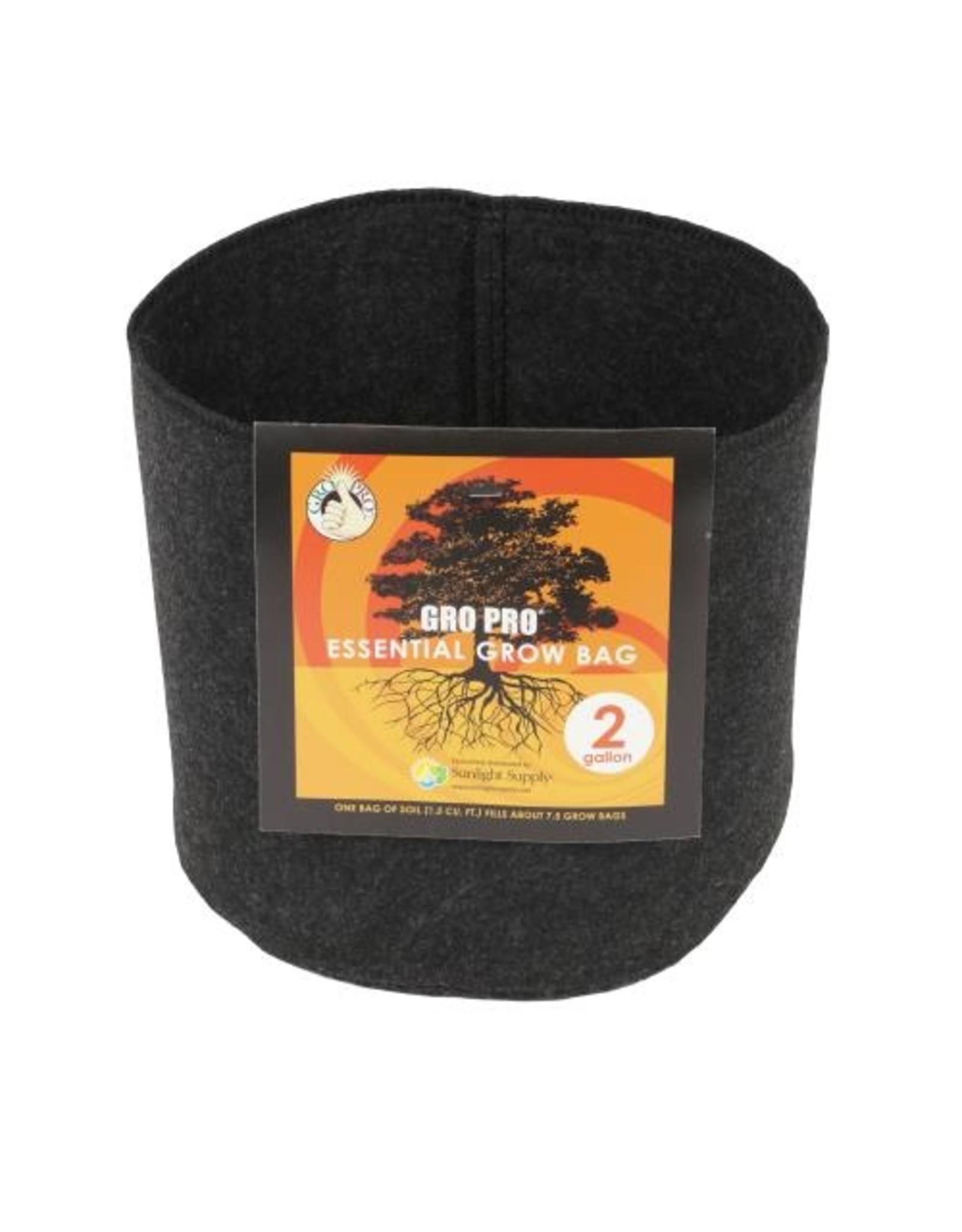 Gro Pro Gro Pro Essential Round Fabric Pot - Black 2 Gallon
