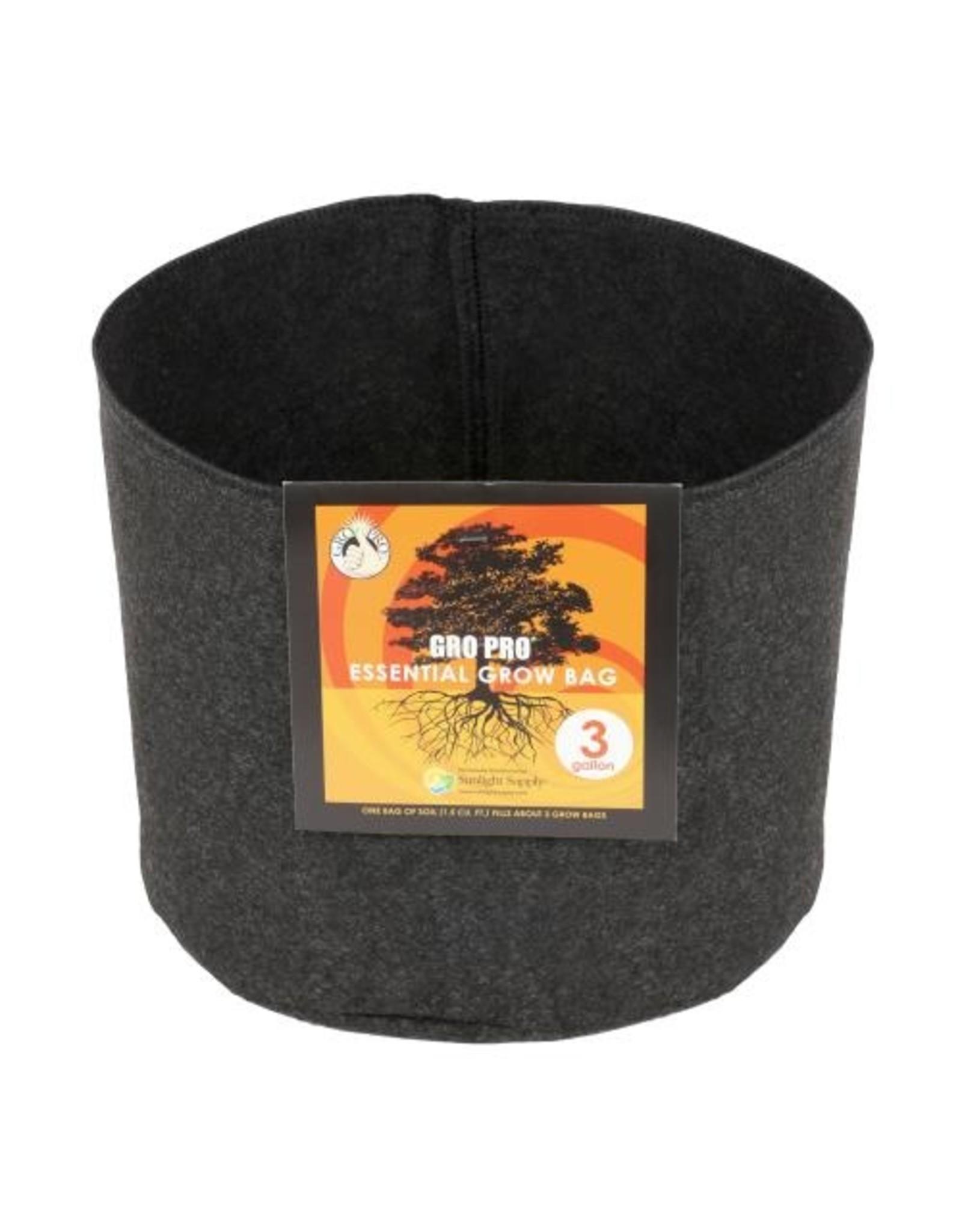 Gro Pro Gro Pro Essential Round Fabric Pot - Black 3 Gallon