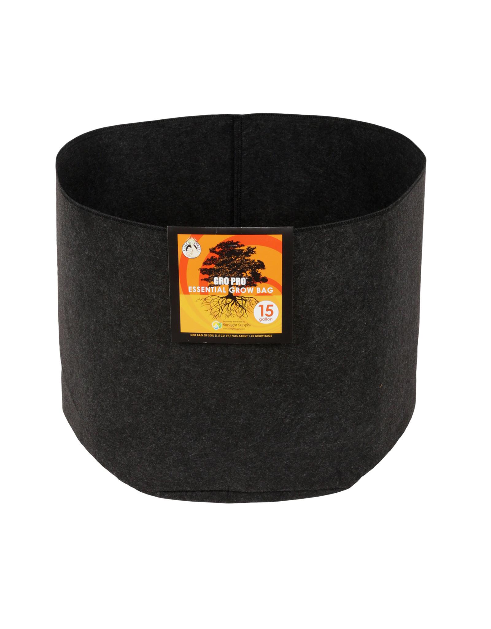 Gro Pro Gro Pro Essential Round Fabric Pot - Black 15 Gallon