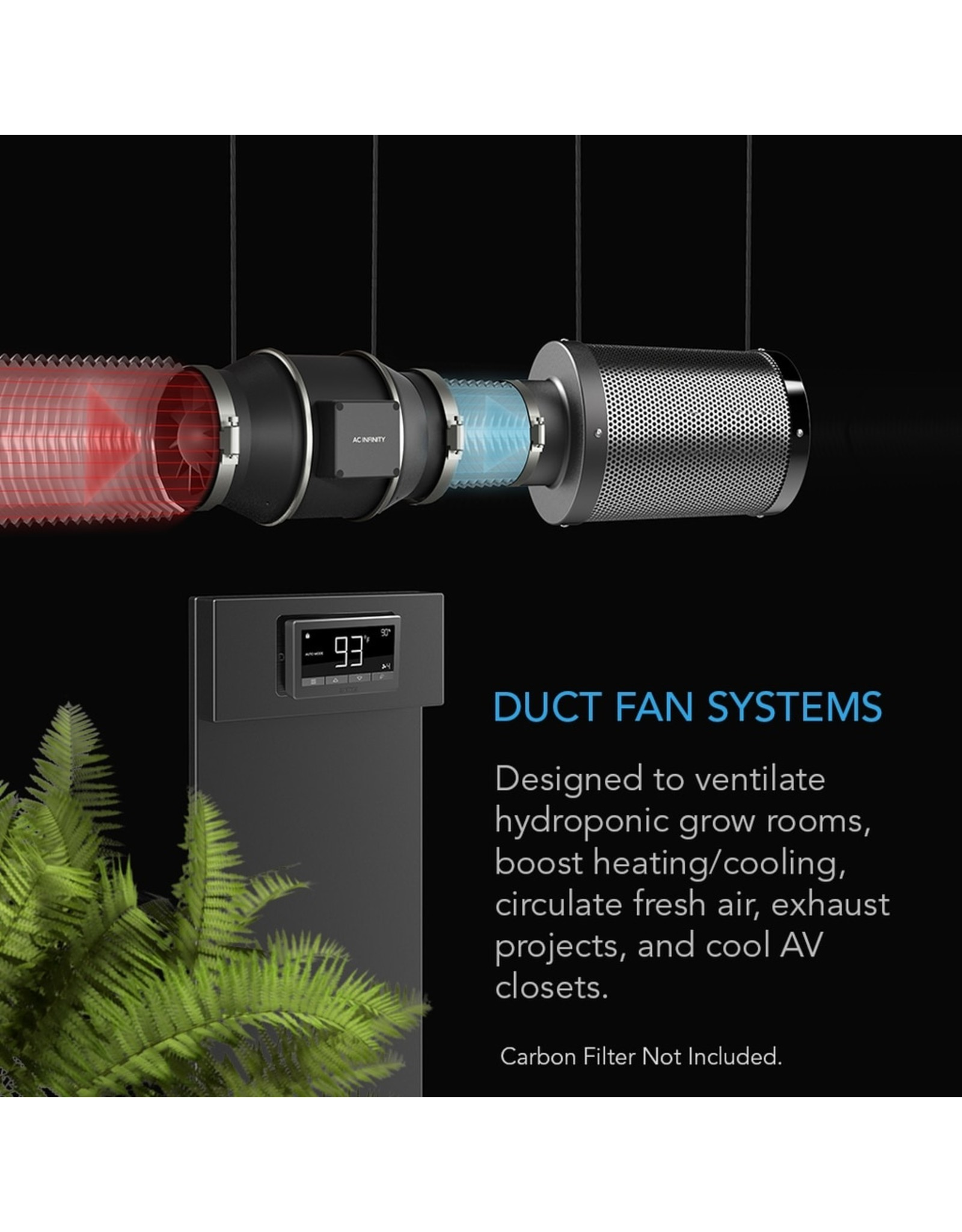 """AC Infinity CLOUDLINE T4 - 4"""" Duct Fan w/ LCD Thermal Control"""