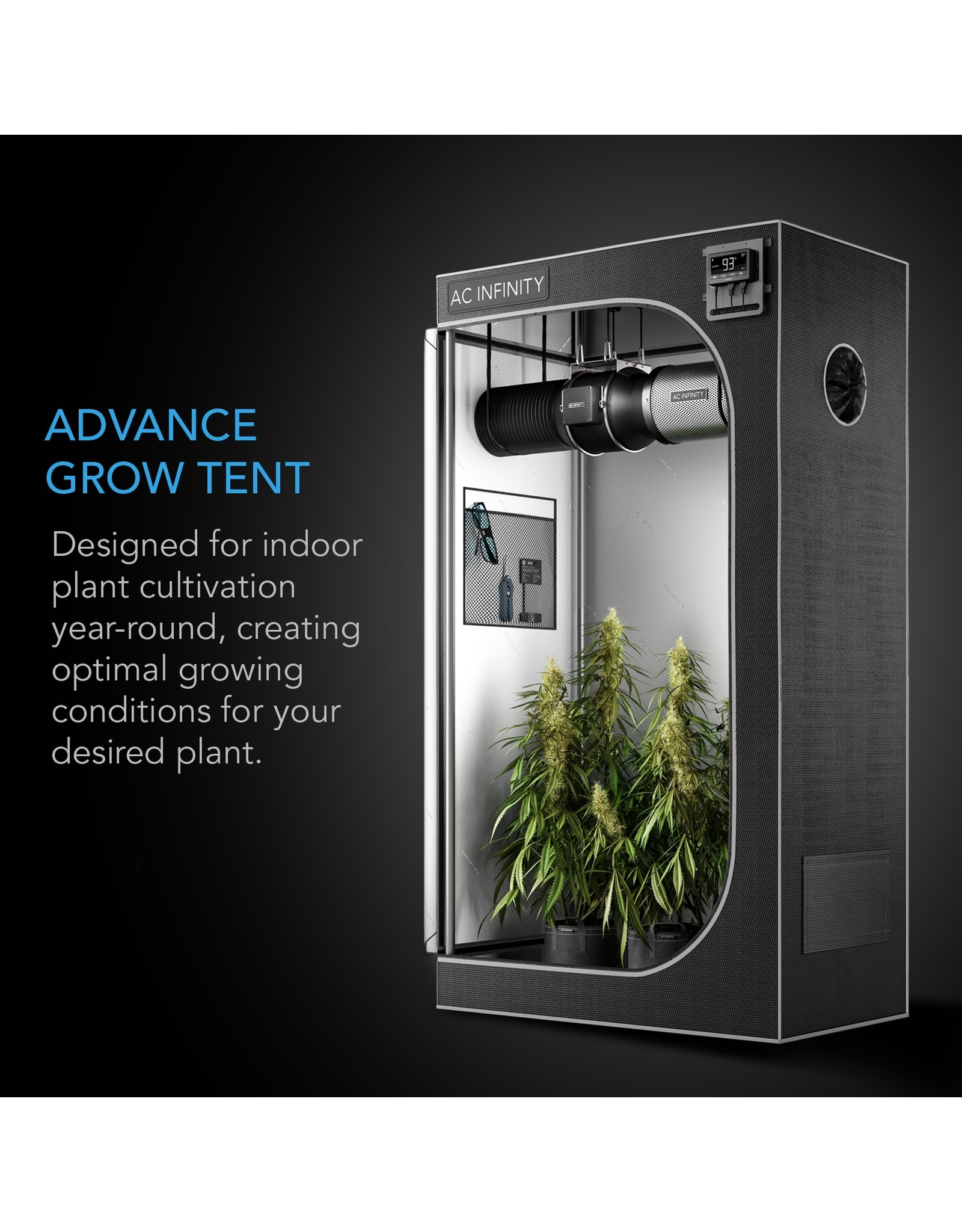 "AC Infinity CLOUDLAB 733, Advance Grow Tent, 2000D Mylar Canvas, 36"" x 36"" x 72"""