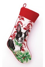 Peking Handicraft Boston Terrier Needlepoint Stocking
