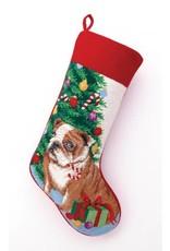Peking Handicraft Bulldog Needlepoint Stocking