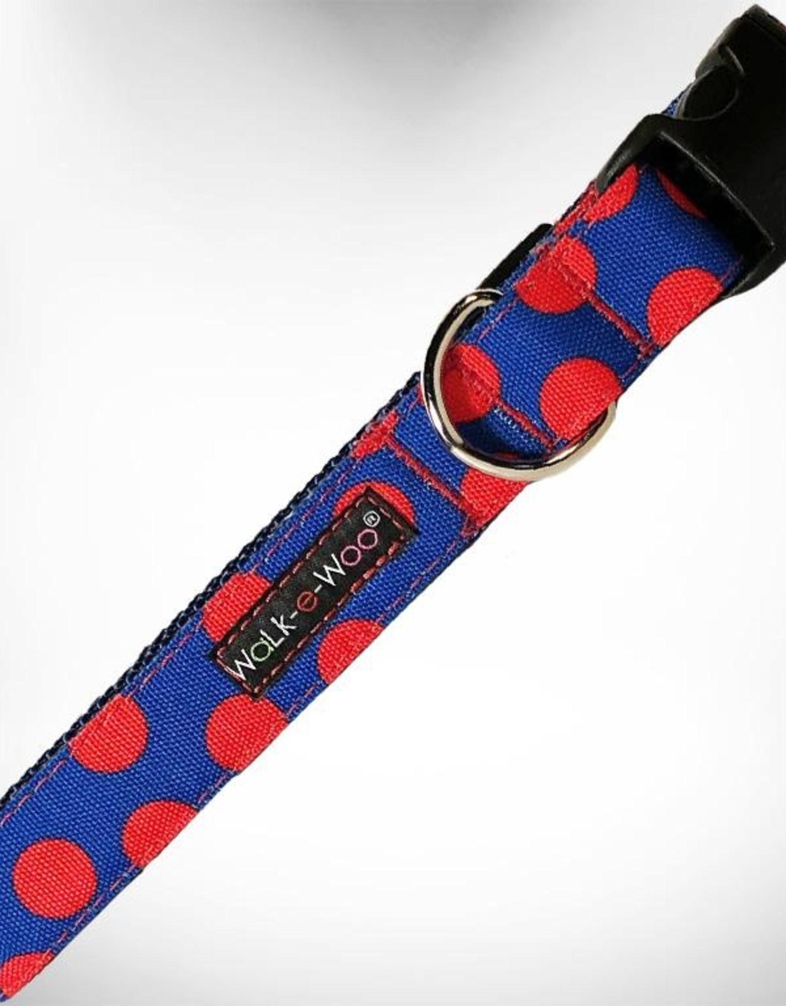 Walk-e-Woo Red Dot on Blue