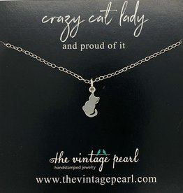 The Vintage Pearl Crazy Cat Lady Necklace