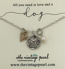 The Vintage Pearl Love and a Dog Necklace