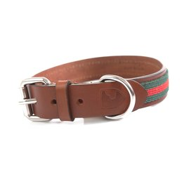 Buddys Dogwear Green/Red Stripe Collar