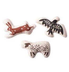 Fringe Studio Julianna Swaney Folk Animal Canvas Mini Dog Toys Set Of 3