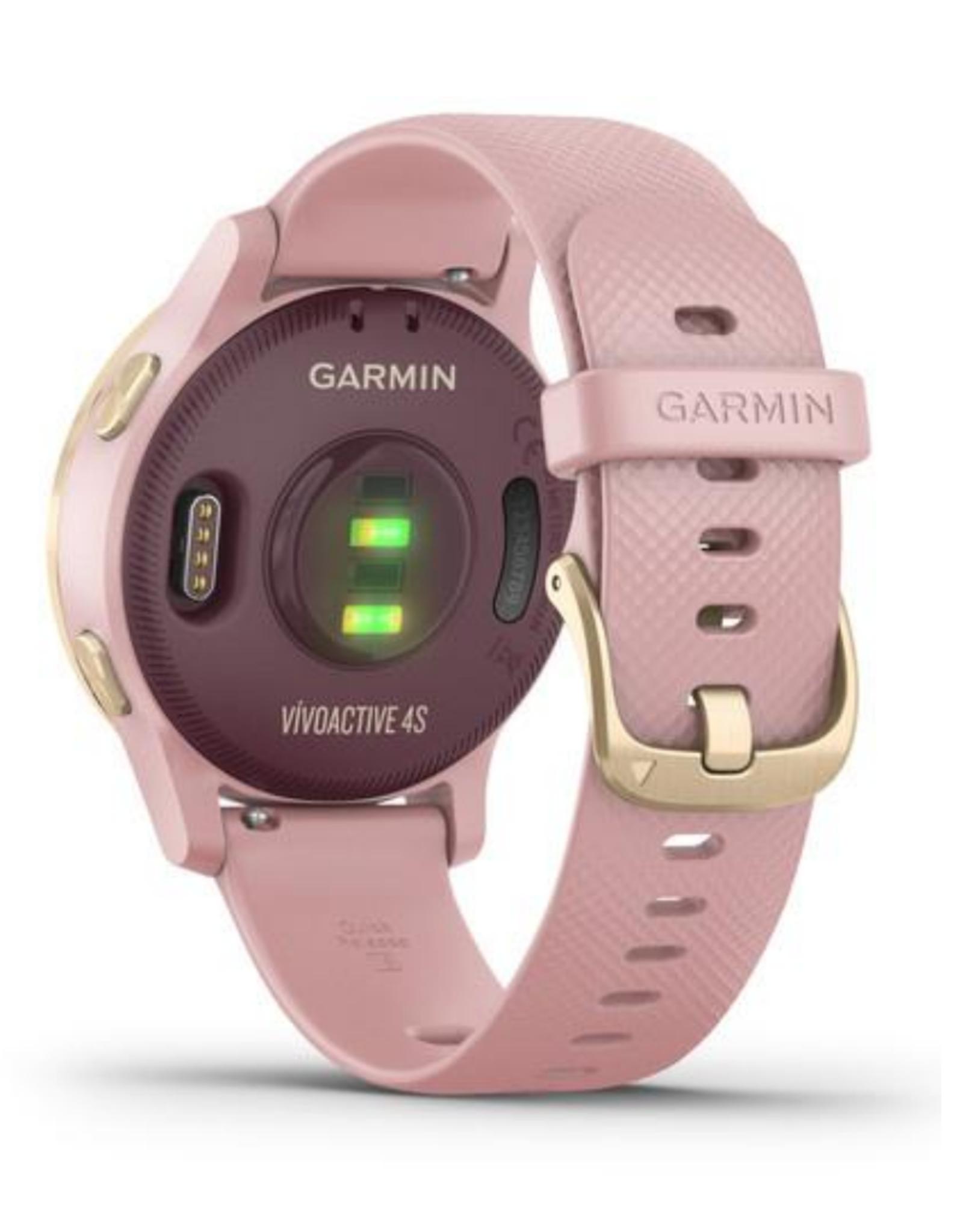 GARMIN GARMIN VIVOACTIVE 4S LT GLD STAINLESS  STEEL BEZEL W DUST ROSE SILICONE BAND
