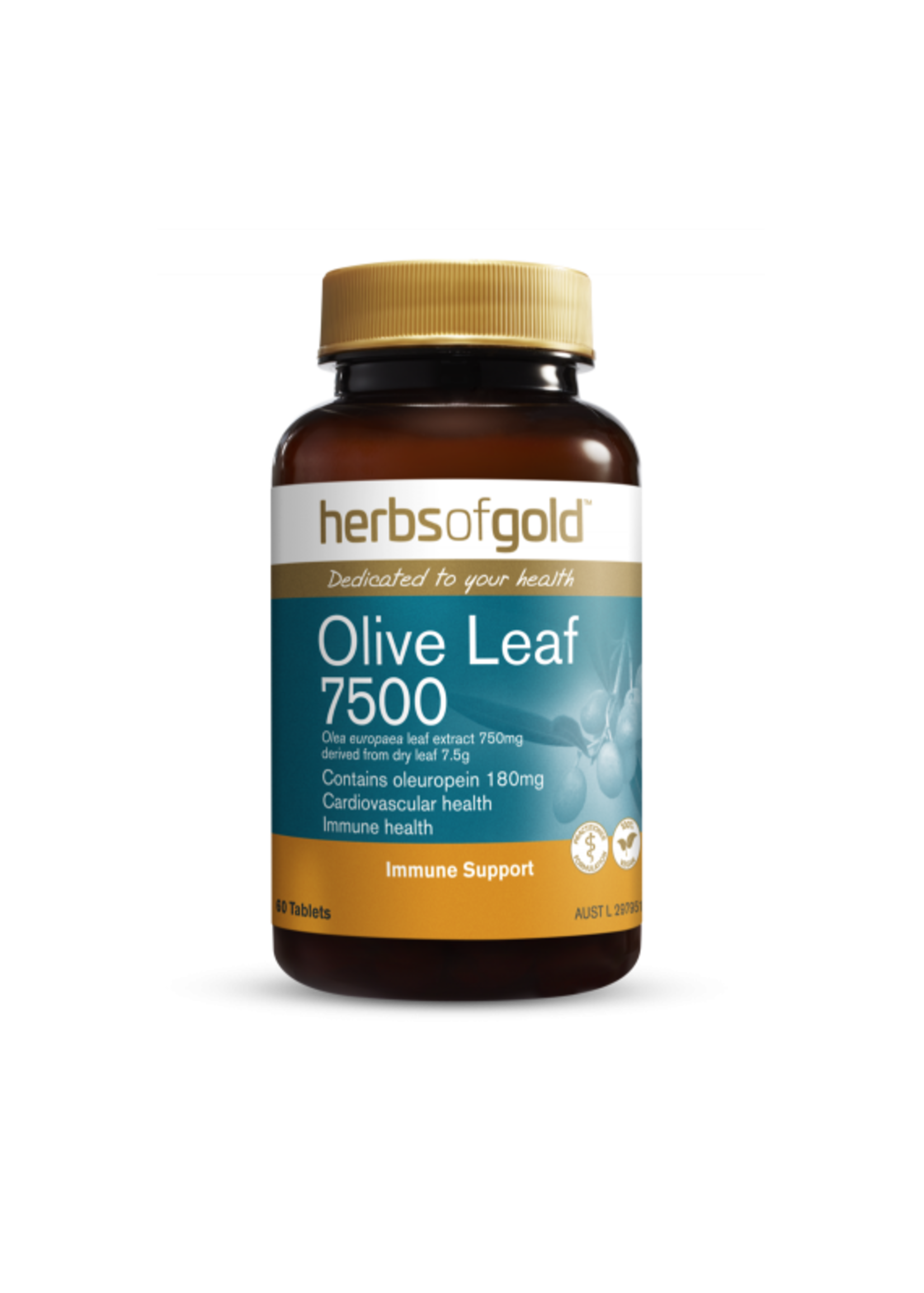 Herbs of Gold Herbs of Gold Olive Leaf  7500 Immune Support 60 tablets