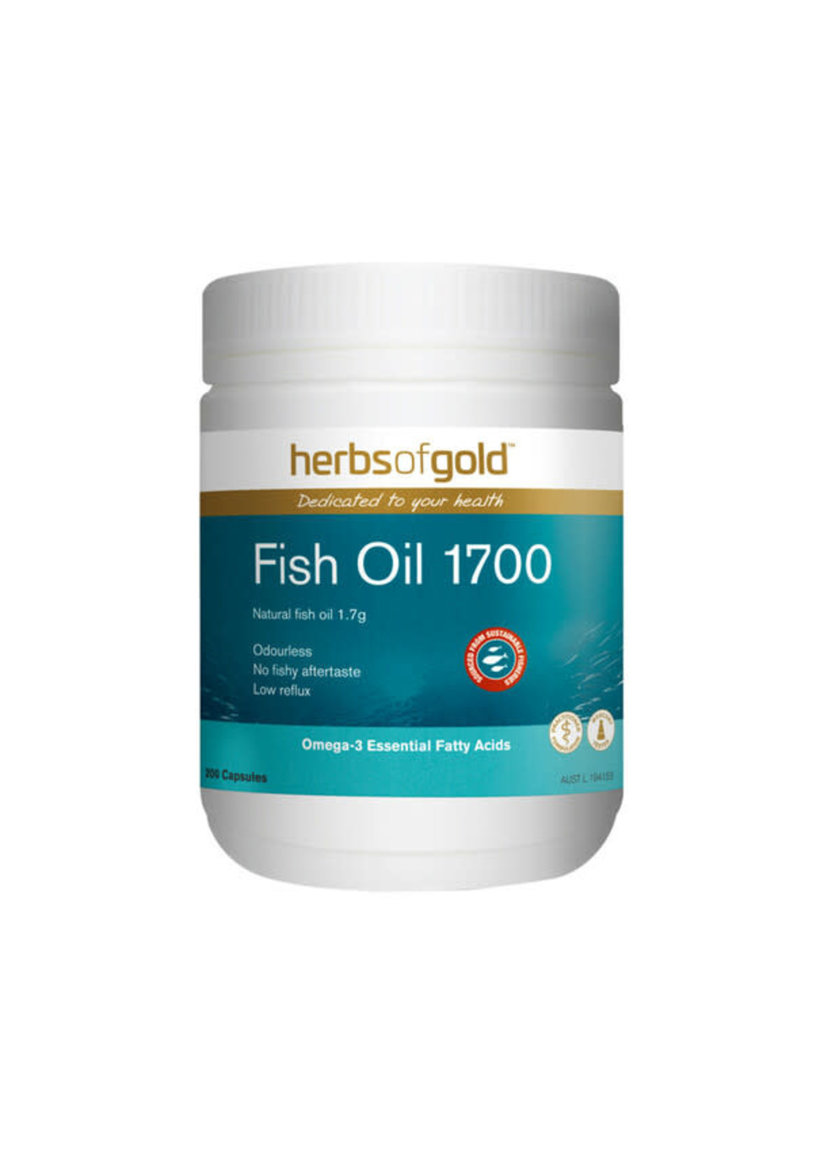 Herbs of Gold Herbs of Gold Fish Oil 1700mg Odourless 200 caps