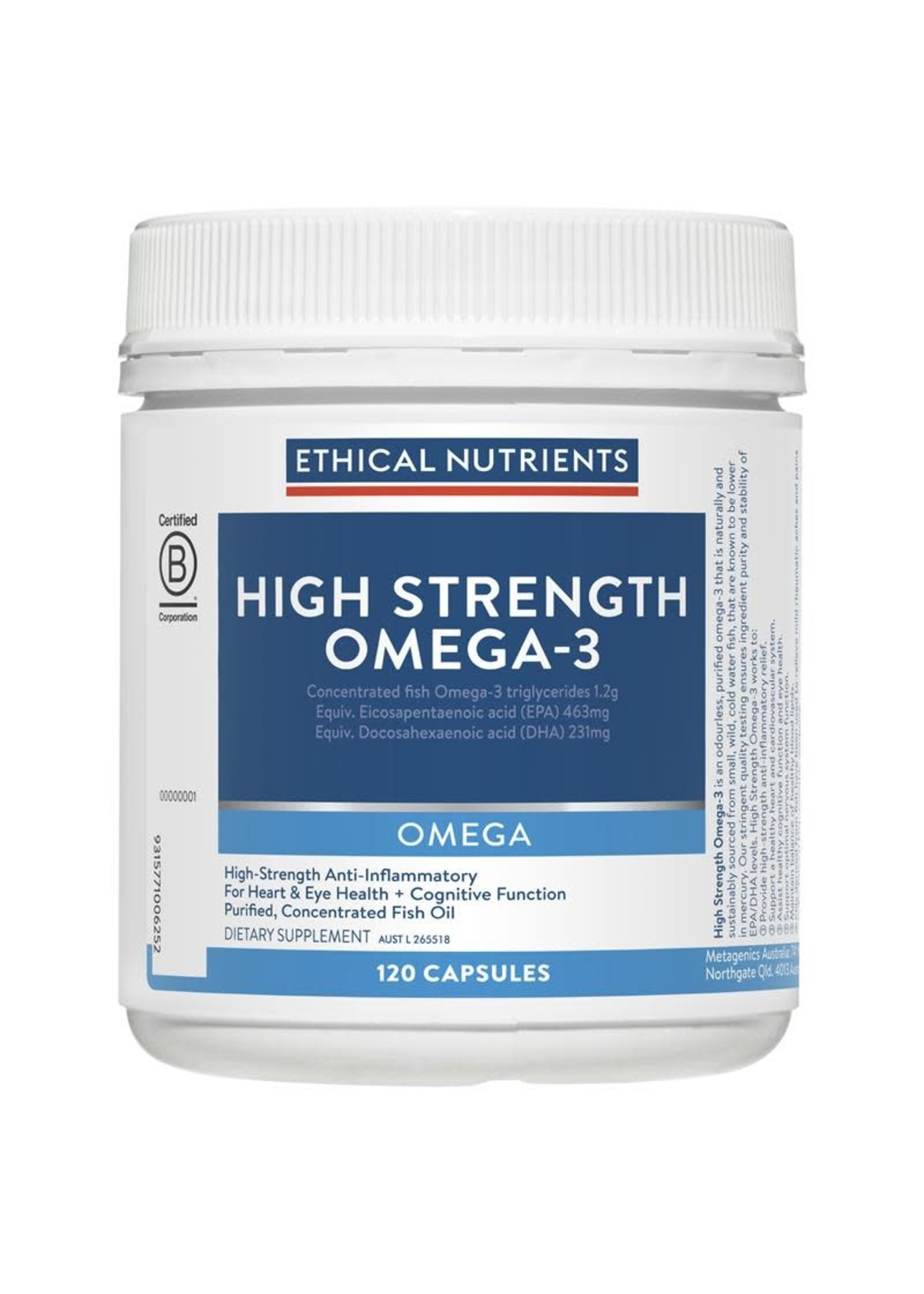 ETHICAL NUTRIENTS Ethical Nutrients omegazorb Hi-Strength Fish Oil 120 Capsules