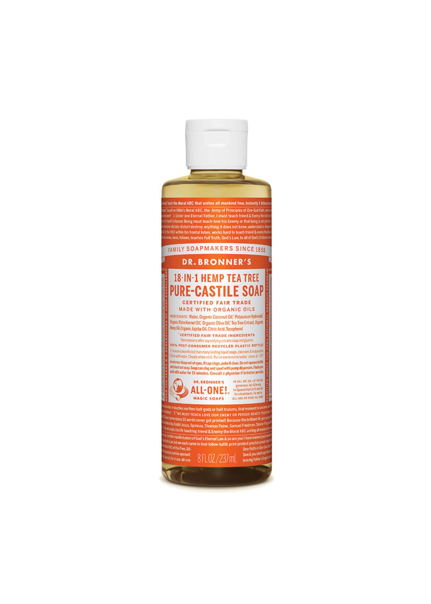 Dr Bronner's Dr Bronner's Pure Castile  Liquid Soap Tea Tree 237 ml                                            ml                                                        mls ORANGE LABEL