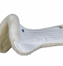 EA Mattes Large Gold Dressage Half Pad White