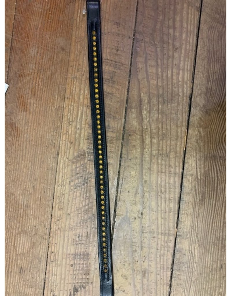 Bobbys Full Browband with Gold Studs Black