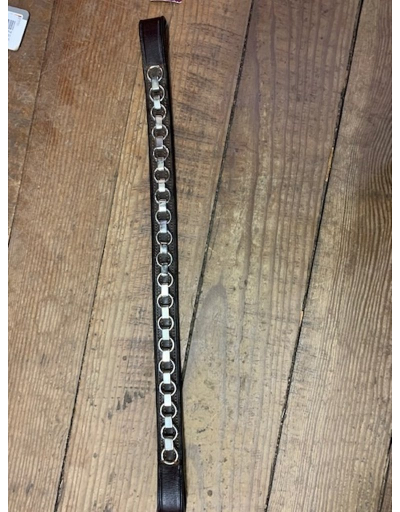 Bobbys Full Browband with Nickel Chain Design Brown