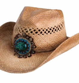 BC Hats Raffia with Beads & Feathers One Size