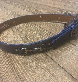 "Tory Leather 30"" Royal Blue Snaffle Bit Belt"