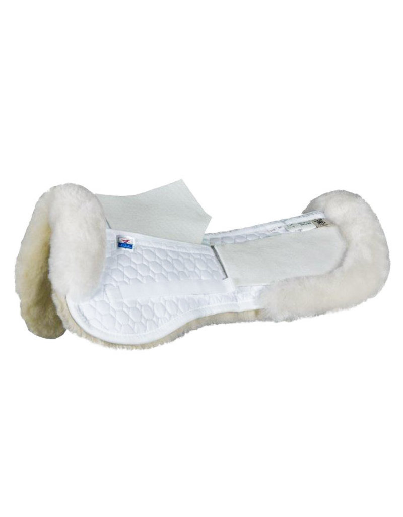EA Mattes Medium Gold AP Half Pad with Shims & Sheepskin Trim White