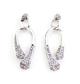 Wyo-Horse Inc Nail Drop Earrings w Clear Stones Silver
