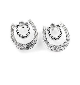 Wyo-Horse Inc Concentric Horseshoe w Crystal Earrings