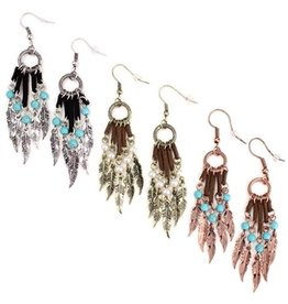 Wyo-Horse Inc Feather Tassel Earrings Turquoise/Silver