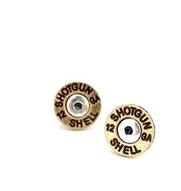 Wyo-Horse Inc Shotgun Shell Stud Earrings Brass