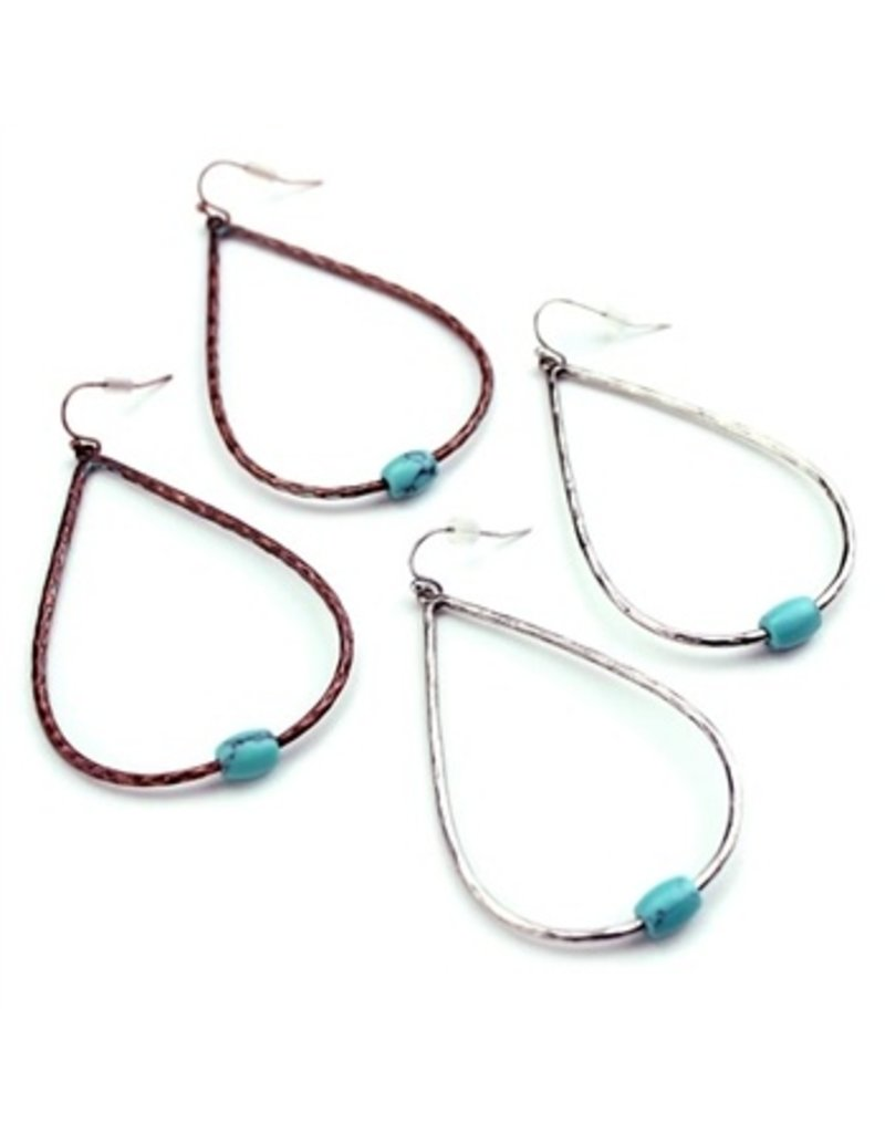 Wyo-Horse Inc Simple Turquoise Drop Earrings Silver