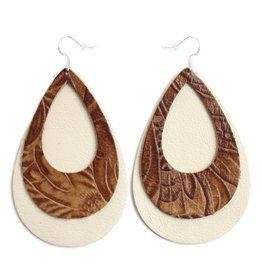 One Wild Double Eclipse Earrings Brown/Nat XL