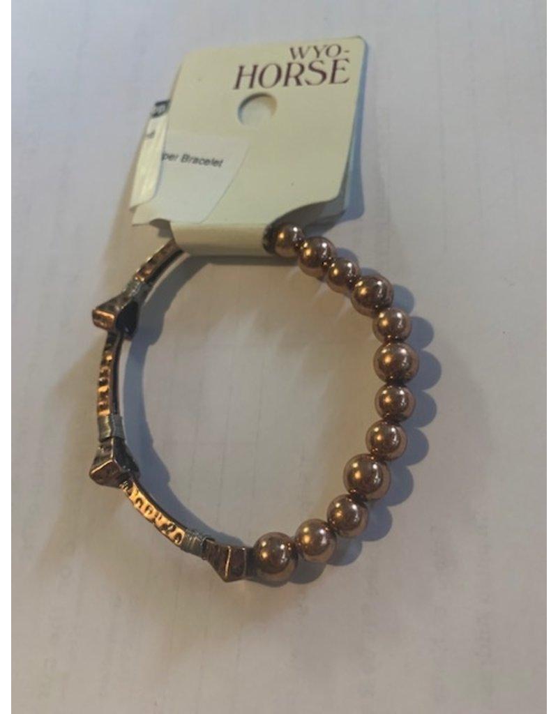 Wyo-Horse Inc Horseshoe Nail and Bead Copper Bracelet