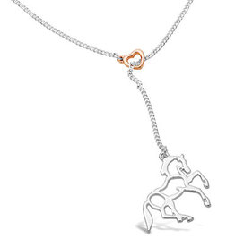 Kelley Heart and Silver Horse Tassel Necklace