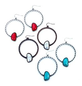 Wyo-Horse Inc Asymmetrical Hopi Hoop Earrings Turquoise