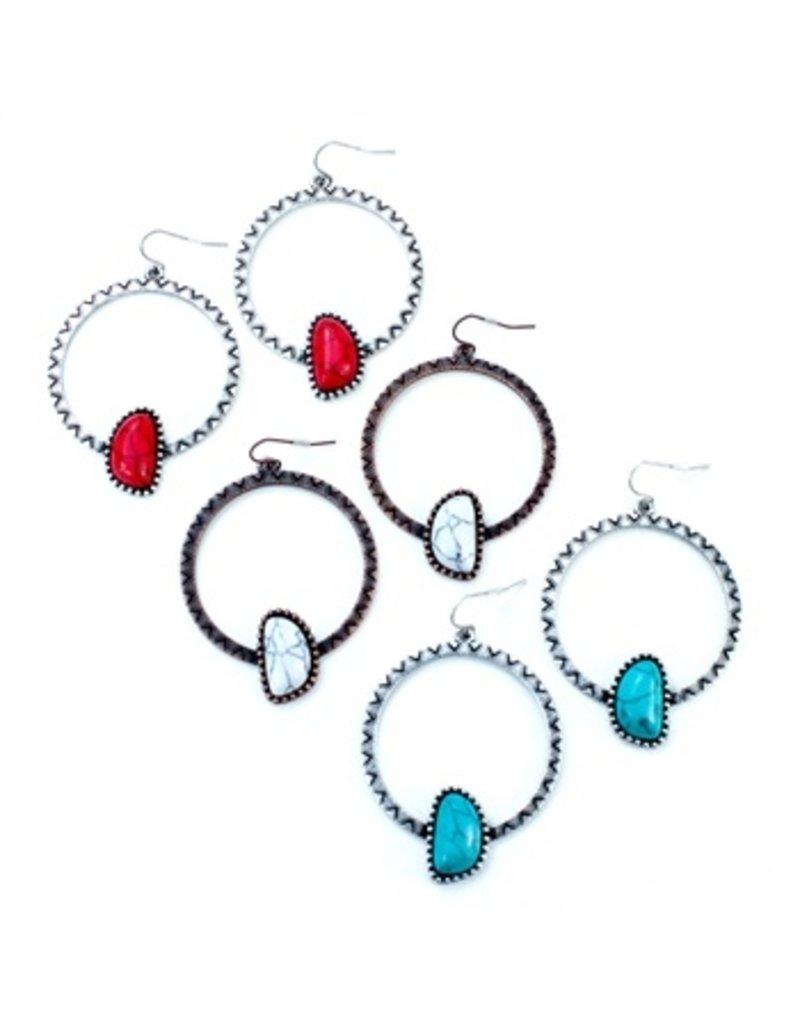 Wyo-Horse Inc Asymmetrical Hopi Hoop Earrings Turquoise