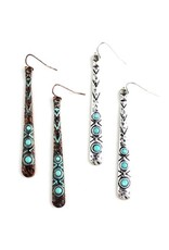 Wyo-Horse Inc Turquoise Patina Bar Earrings