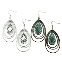 Wyo-Horse Inc Southwest Hoop Earrings Patina Turquoise
