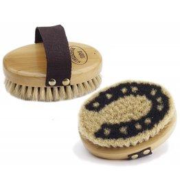 Equi-Essentials Wood Back Horseshoe Body Brush with Horse Hair