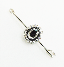 Finishing Touch Black Onyx Oval Gem Stock Pin Medium Silver