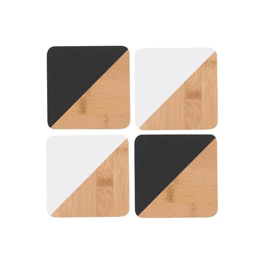 Danica Angle Bamboo Coasters - Black & White - Set of Four