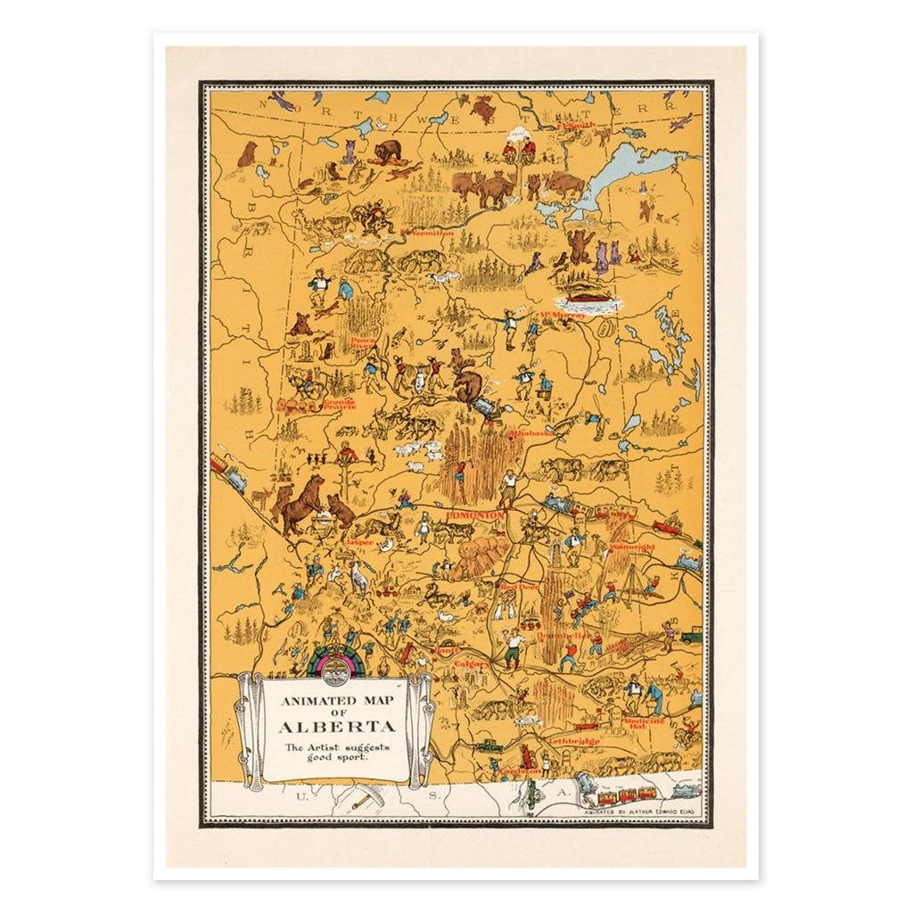 Vivid Archives Animated Map of Alberta 1929