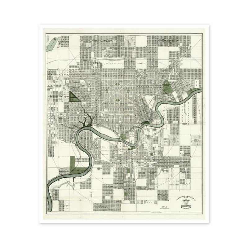 Vivid Archives Driscoll & Knight Edmonton Muted Map 1912