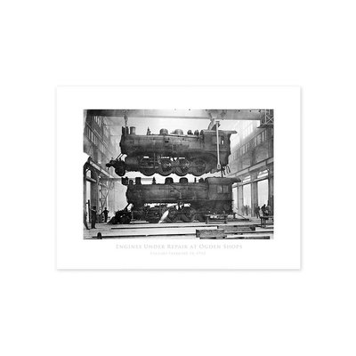 Vivid Archives Engines Under Repair at Ogden Shops 1913 Poster