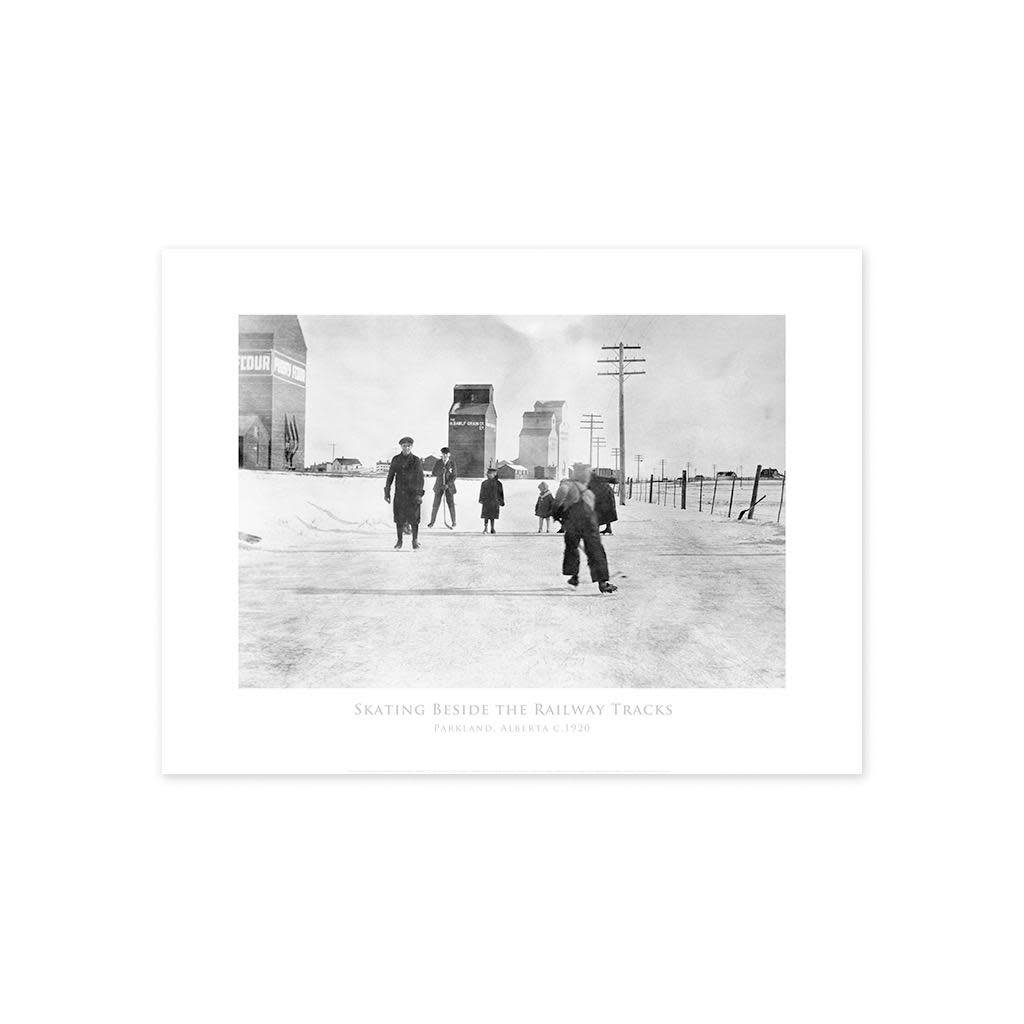 Vivid Archives Skating Beside the Tracks Parkland, Alberta ca. 1920 Poster
