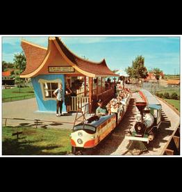 Vivid Print Valley Zoo Train Postcard