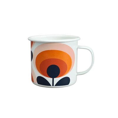 Wild & Wolf Enamel Mug 70s Flower Oval Persimmon 500ml