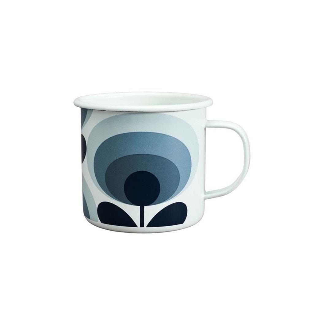 Wild & Wolf Enamel Mug 70s Flower Oval Slate 500ml
