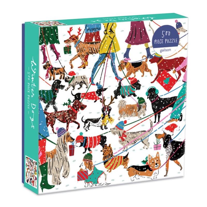 Galison Mudpuppy Winter Dogs 500 Piece Puzzle