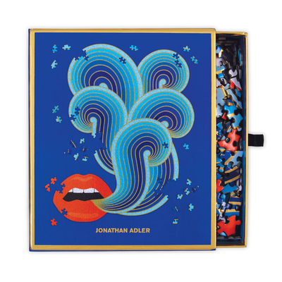 Galison Mudpuppy Jonathan Adler 750 Piece Lips Shaped Puzzle