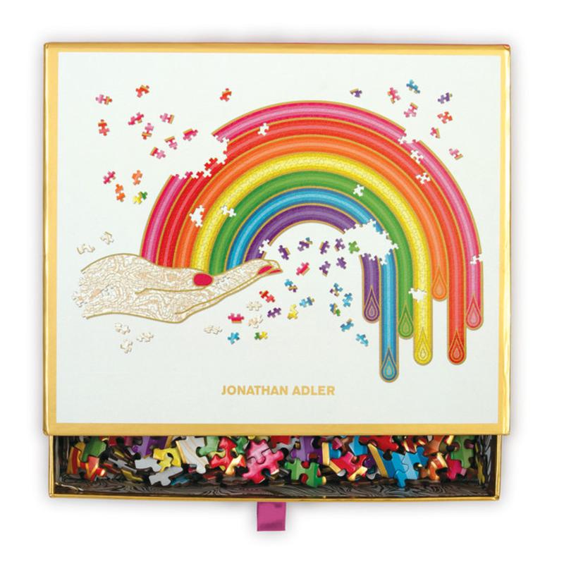 Galison Mudpuppy Jonathan Adler Rainbow Hand 750 Piece Shaped Puzzle